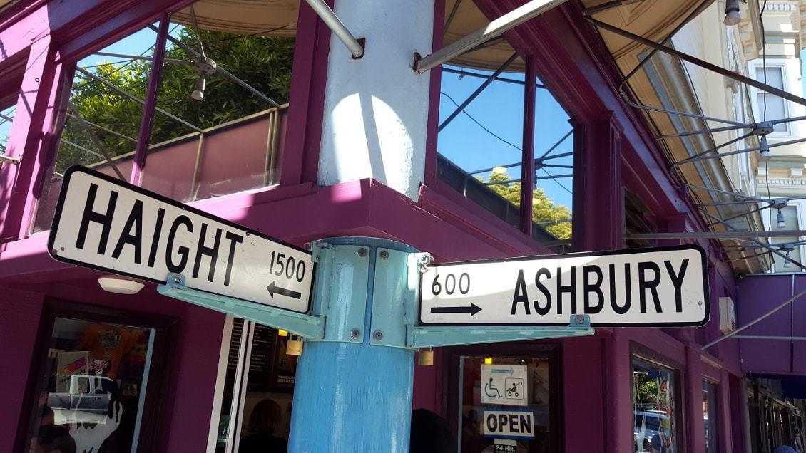 Panneau signalant le croisement Haight Ashbury à San Francisco_Californie