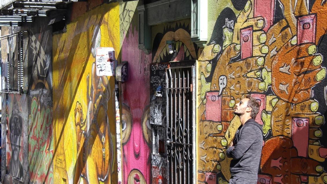 Fresque murale dans Clarion Alley dans le quartier de Mission District_SanFrancisco USA