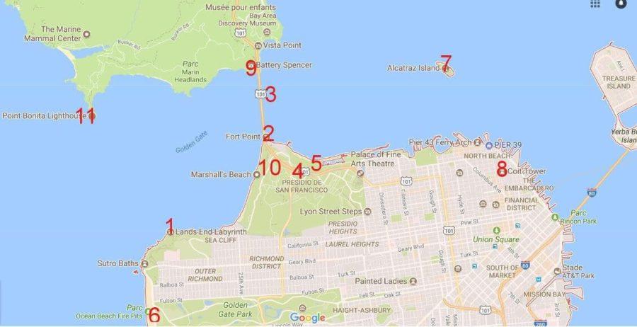 Carte de San Francisco - Les meilleurs points vues pour observer le Golden gate Bridge